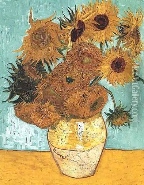 Vase With Twelve Sunflowers Oil Painting - Vincent Van Gogh