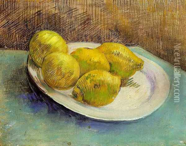 Still Life With Lemons On A Plate Oil Painting - Vincent Van Gogh