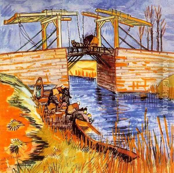 The Langlois Bridge at Arles Oil Painting - Vincent Van Gogh