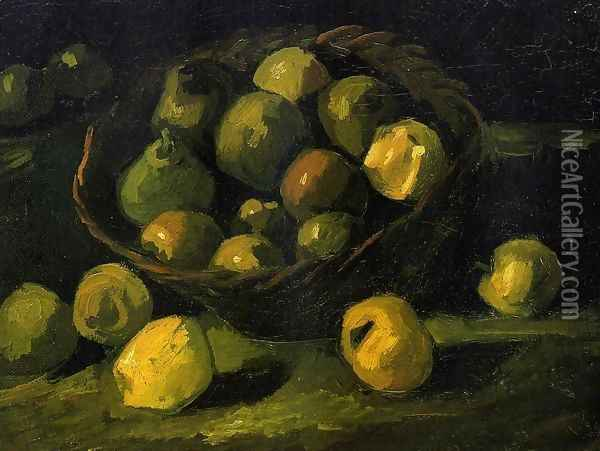 Still Life with Basket of Apples Oil Painting - Vincent Van Gogh