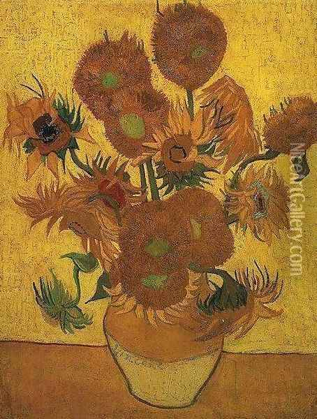 Vase With Fifteen Sunflowers II Oil Painting - Vincent Van Gogh