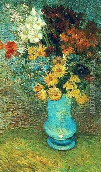 Vase With Daisies And Anemones Oil Painting - Vincent Van Gogh