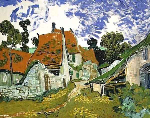 Village Street In Auvers Oil Painting - Vincent Van Gogh