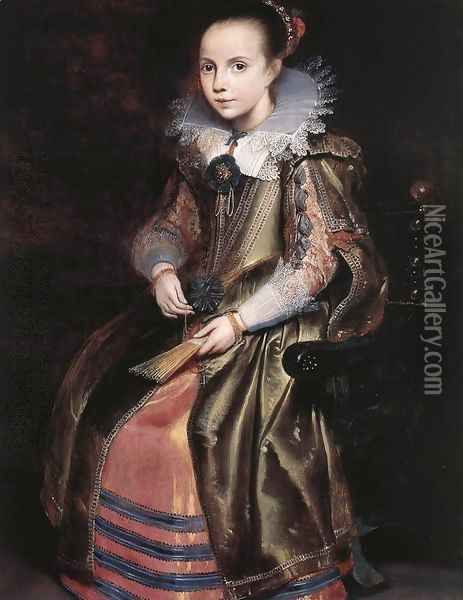 Elisabeth (or Cornelia) Vekemans as a Young Girl c. 1625 Oil Painting - Cornelis De Vos