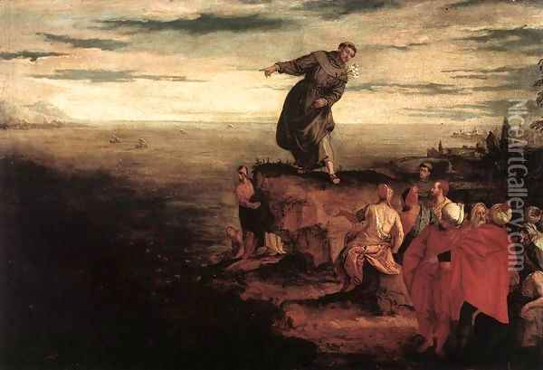 St Anthony Preaching to the Fish c. 1580 Oil Painting - Paolo Veronese (Caliari)