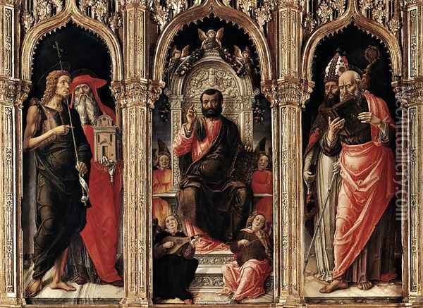 Triptych of St Mark 1474 2 Oil Painting - Bartolomeo Vivarini
