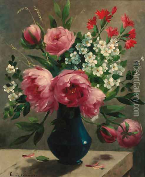 Summer flowers in a blue vase oil painting reproduction by for How to oil paint flowers