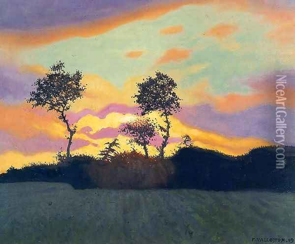 Landscape at Sunset Oil Painting - Felix Edouard Vallotton