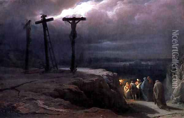 Night at Golgotha, 1869 Oil Painting - Vasili Vasilyevich Vereshchagin