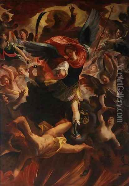The Archangel Michael Vanquishing the Devil Oil Painting - Antonio Maria Viani