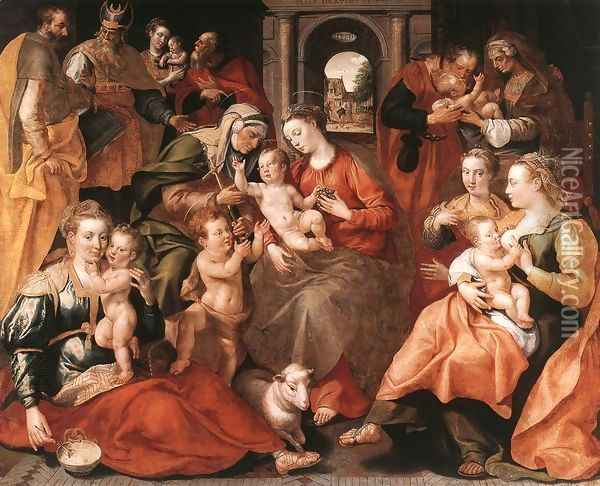 The Family of St Anne 1585 Oil Painting - Maarten de Vos