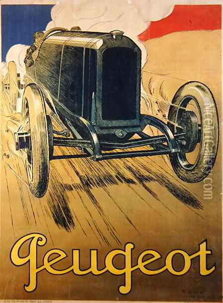 Poster advertising a Peugeot Racing Car, c.1918 Oil Painting - Rene Vincent