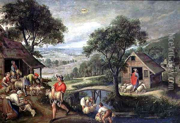 Parable of the Good Shepherd, c.1580-90 Oil Painting - Marten Van Valckenborch I