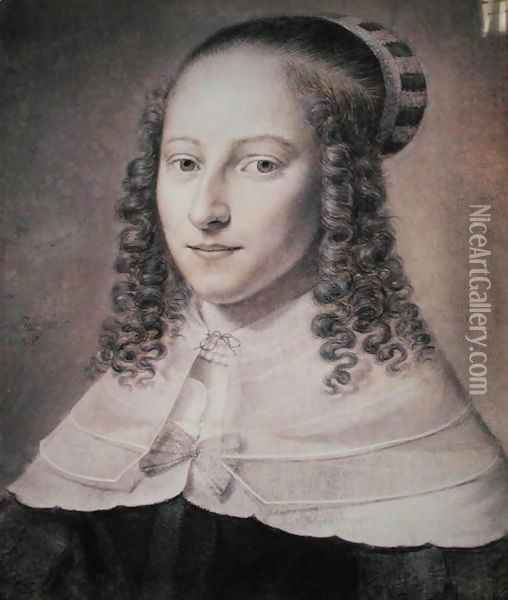 Portrait of a Young Woman, 1648 Oil Painting - Wallerant Vaillant