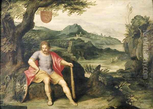 Hercules seated at the foot of a tree in a landscape Oil Painting - Otto van Veen