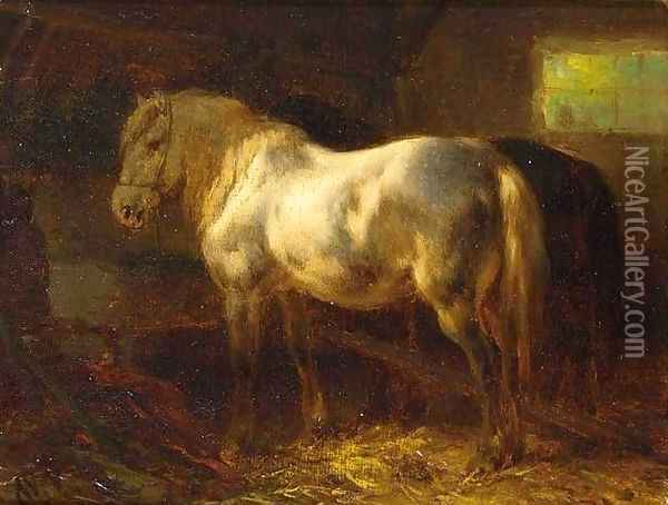 Horses in a Stable Oil Painting - Wouterus Verschuur