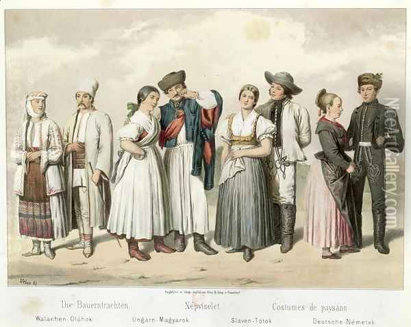 Costumes of Peasants from (L to R) Romania, Hungary, Slovakia and Germany, from 'Esquisses de la Vie Populaire en Hongroie by Gabriel de Pronay, 1855 Oil Painting - H. Veber