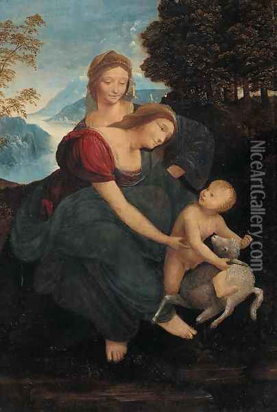 The Madonna and Child with Saint Anne Oil Painting - Leonardo Da Vinci