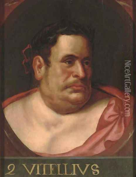 The Emperor Vitellius, in a feigned oval Oil Painting - Otto van Veen