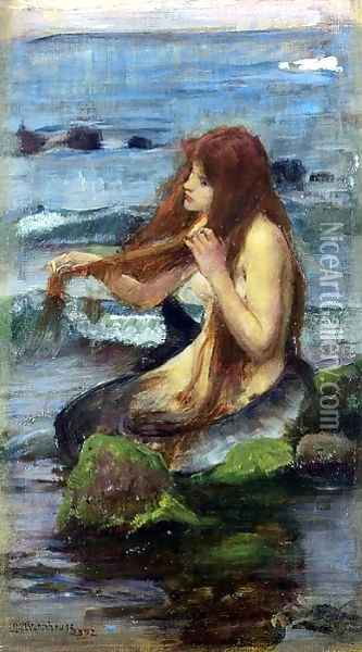 The Mermaid study 1892 Oil Painting - John William Waterhouse