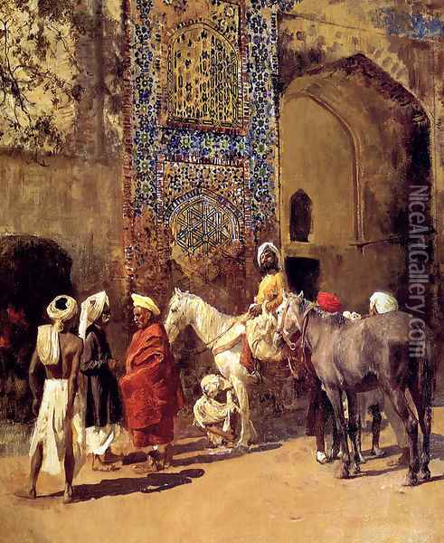 Blue Tiled Mosque At Delhi India Oil Painting - Edwin Lord Weeks