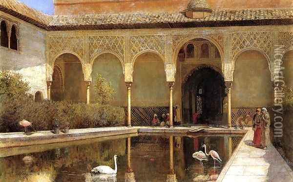 A Court In The Alhambra In The Time Of The Moors Oil Painting - Edwin Lord Weeks