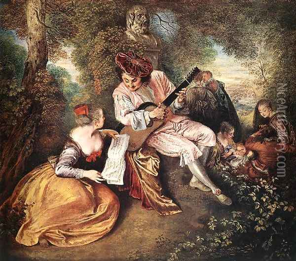 'La gamme d'amour' (The Love Song) c. 1717 Oil Painting - Jean-Antoine Watteau