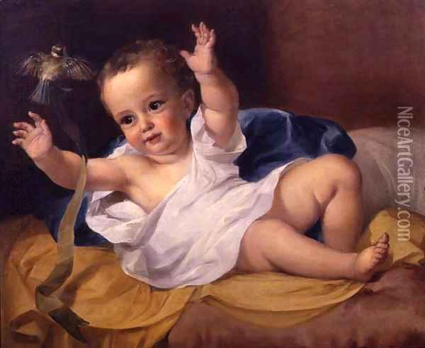 Gerald Hamilton as an infant, 1839 Oil Painting - George Frederick Watts