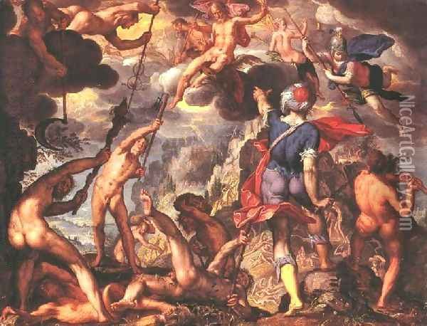 The Battle Between the Gods and the Titans 1600 Oil Painting - Joachim Wtewael (Uytewael)