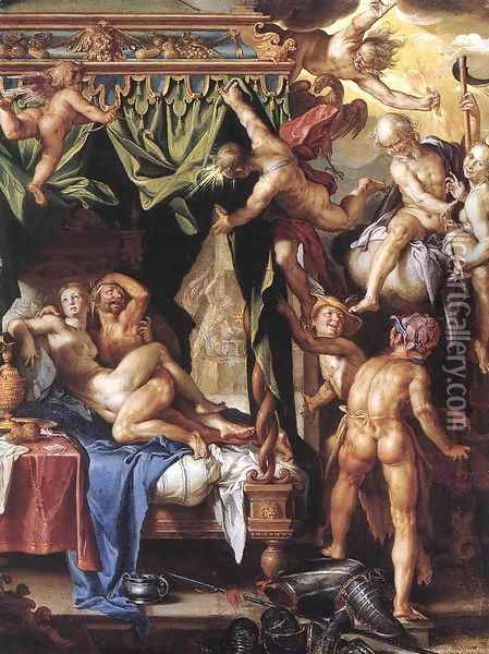 Mars and Venus Discovered by the Gods 1603-04 Oil Painting - Joachim Wtewael (Uytewael)