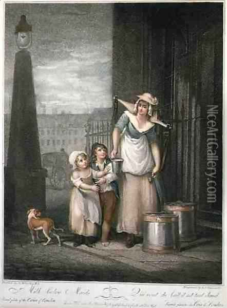 Milk below Maids, plate 2 of The Cries of London, engraved by Luigi Schiavonetti (1765-1810), pub. by Colnaghi & Co., 1793 Oil Painting - Francis Wheatley