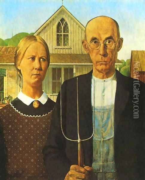 American Gothic Oil Painting - Grant Wood