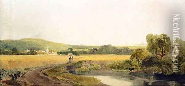 A Cornfield by a Backwater near a Village in the Thames Valley Oil Painting - Peter de Wint