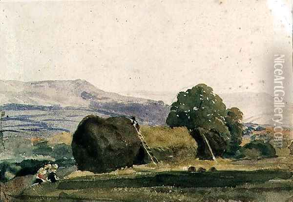 Landscape with haystacks Oil Painting - Peter de Wint