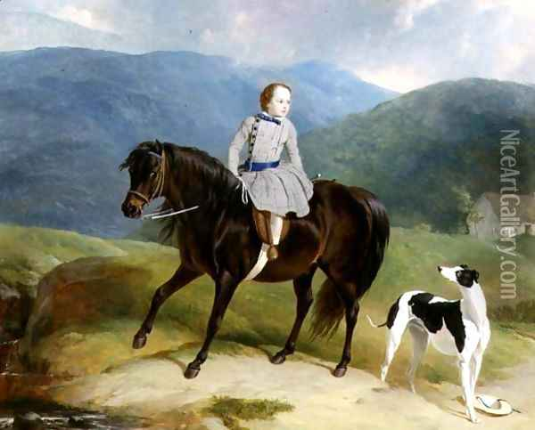 Master Edward Coutts Marjoriebanks on his Pony, c.1851 Oil Painting - Thomas Webster