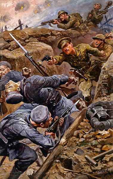 Captain Reginald James Young winning the Military Cross at the Battle of the Somme, 1916 Oil Painting - Stanley L. Wood