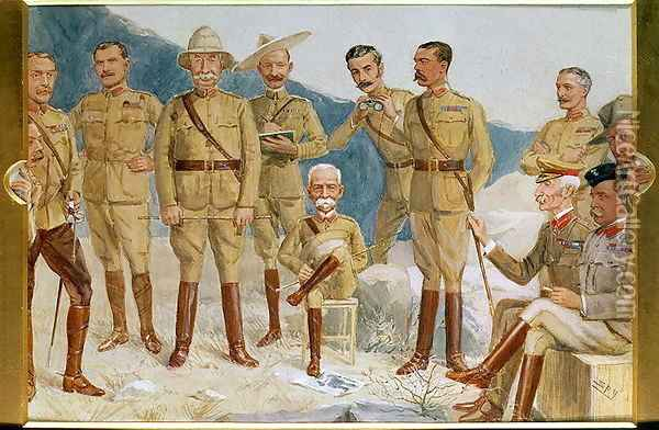 Cartoon of British leaders in the Boer War, Field Marshal Sir Frederick Sleigh Roberts (1832-1914) With His Boot on a Portrait of Paul Kruger (1825-1924) Cartoon of British leaders in the Boer War Oil Painting - Leslie Mathew Ward