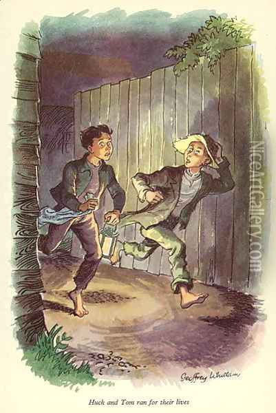 Huck and Tom ran for their lives', illustration from 'The Adventures of Tom Sawyer by Mark Twain (1835-1910) Oil Painting - Geoffrey Whittam
