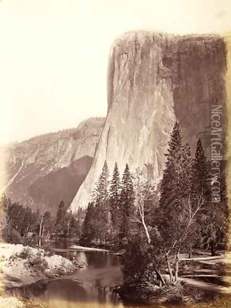 El Capitan, Yosemite National Park, USA, 1861-75 Oil Painting - Carleton Emmons Watkins