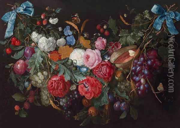 A Swag of Flowers Oil Painting - Jacob van Walscapelle