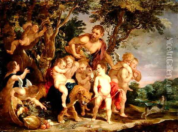 A Bacchanal in a Wooded River Landscape Oil Painting - Victor Wolfvoet
