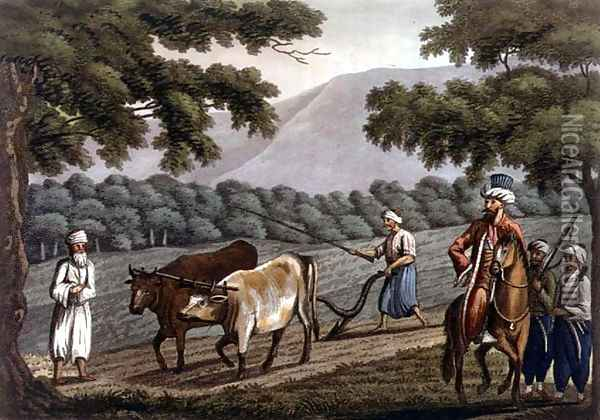 Agriculture in Syria, engraved by Joseph Constantine Stadler (fl.1780-1812) pub. by J. White, 1801 Oil Painting - Cooper Willyams