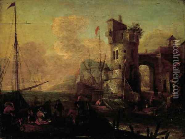 Merchantmen unloading their cargo in an Mediterranean harbour Oil Painting - Thomas Wyck