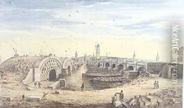 Construction of the new London Bridge alongside the old London Bridge, 1823 Oil Painting - Gideon Yates