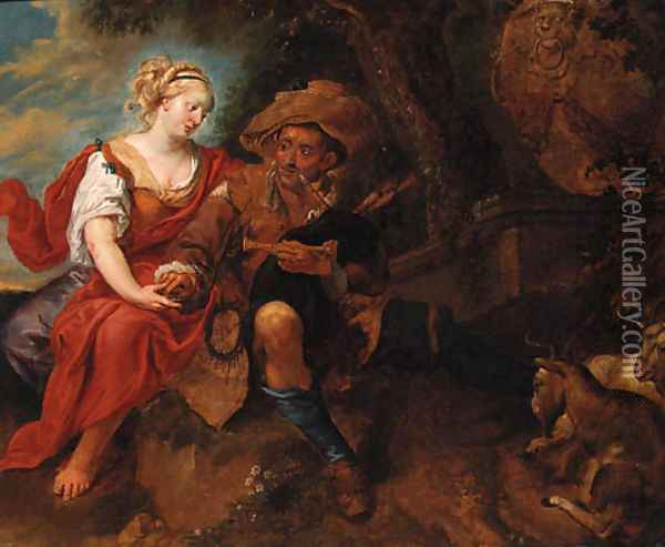 A peasant Woman courting a travelling Musician in a Landscape Oil Painting - Jan Thomas Van Ypren