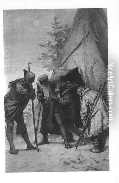 Illustration to Imre Madachs The Tragedy of Man- Eskimo Scene Scene 14 1887 Oil Painting - Mihaly von Zichy