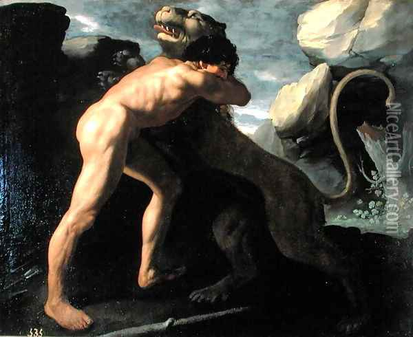 Hercules Fighting with the Nemean Lion Oil Painting - Francisco De Zurbaran