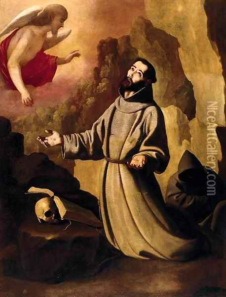 St Francis of Assisi Receiving the Stigmata Oil Painting - Francisco De Zurbaran