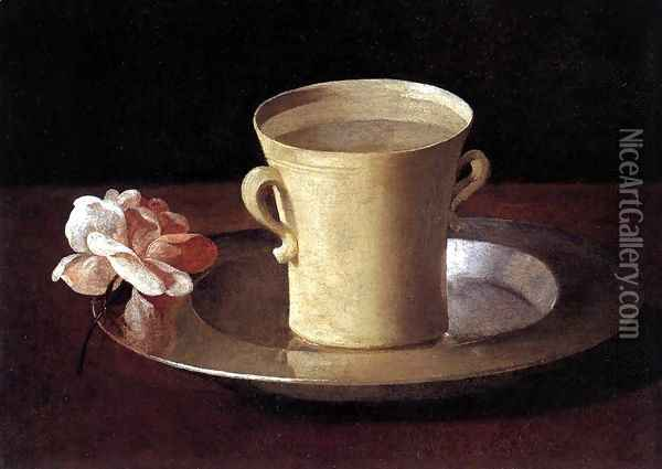 Cup of Water and a Rose on a Silver Plate c. 1630 Oil Painting - Francisco De Zurbaran