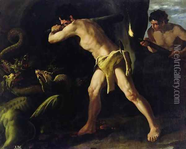 Hercules Fighting with the Lernaean Hydra, c.1634 Oil Painting - Francisco De Zurbaran